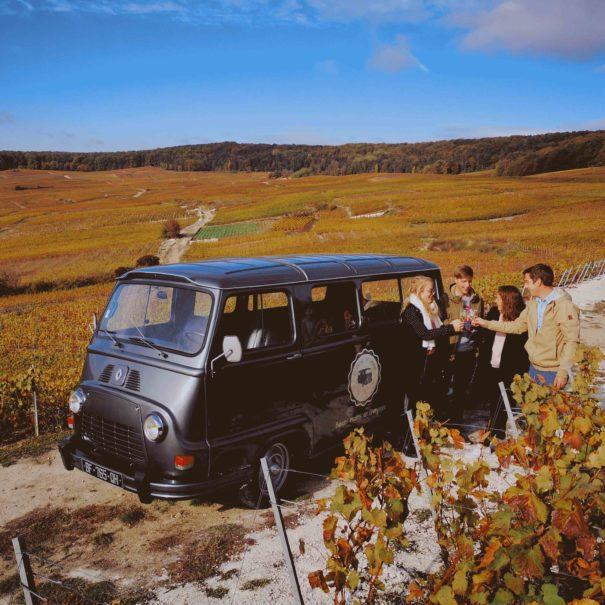Balades insolites en Champagne My Vintage Tour Company Estafette - automne